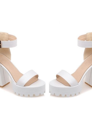 ShangYi Womens Shoes Leatherette Chunky Heel Heels / Platform Sandals Office & Career / Dress / Casual Blue / Pink / White Blue