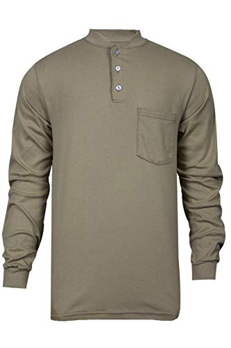 National Safety Apparel C54PABSLSXL Flame Resistant Classic Cotton Long Sleeve Henley Shirt, X-Large, Khaki