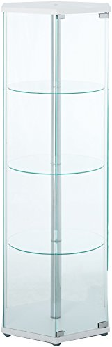 Coaster Traditional Glass Hexagon Shaped Curio Cabinet - White Display Cabinet