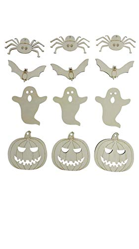 Halloween Decoration Home Decor Seasonal School Projects Wooden Craft DIY Pumpkin Ghost Bat Spider Shapes -