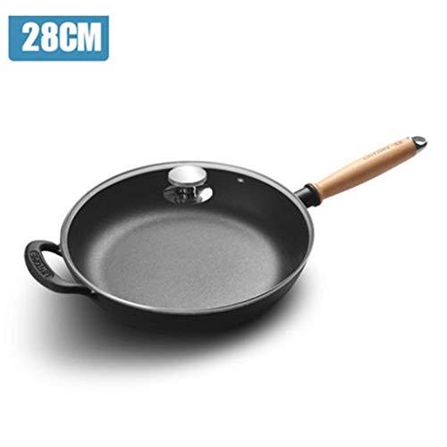 DQMSB Cast Iron Pan 28CM Frying Pan Pancake Pot Wooden Handle Thickened Cast Iron Pan, Induction Cooker Universal (Color : Elm wood handle, Size : 28cm) (Elm Stove Wood)