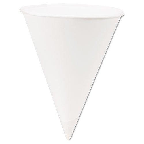Solo 4BR-2050 4 oz White Paper Cone Cups (Case of 5000) - 4 Ounce Cone Cups