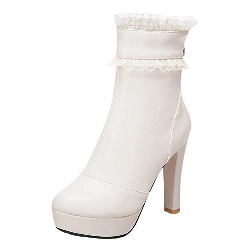 Mee Chaussures De Danse Zip Plate-forme Haut Talon Bottes Courtes Femmes Hors Blanc