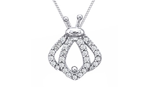 Diamond Ladybug Pendant (Jewel Zone US Natural Diamond Ladybug Silhouette Pendant Necklace in 14k White Gold Over Sterling Silver (1/5 Ct))