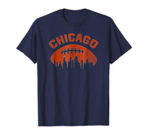 Vintage Chicago Illinois Cityscape Retro Football T-Shirt Chicago Bears Womens T-shirt