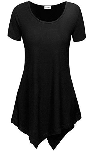 KorMei - Camiseta - Túnica - Efecto teñido - Cuello redondo - Manga corta - para mujer negro
