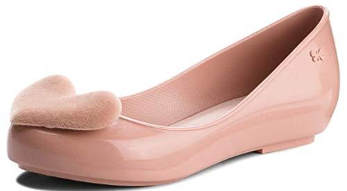 Pop Femmes Rose Heart Flats Zaxy Ballerines Chaussures Flock dqSZxdw
