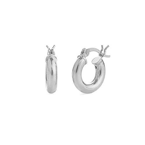 Sterling Silver Hoop Earrings - 3mm x 12mm Click-Top Tube Hoop
