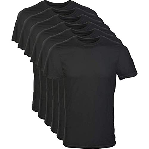 6 Pack:Men T-Shirts,2019 New Dry-Fit Casual Short Sleeve Cotton Blend Crew Neck Tee Shirts (L, Black)