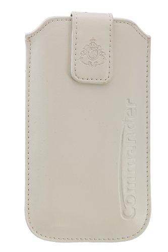PJ COMMANDER ELEGANCE DeLuxe XLS Leather blanc, z.B. pour Apple iPhone 5/ 5C/ 5S