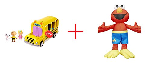 Charlie Brown School Bus and Sesame Street Bath Plush Elmo - Bundle