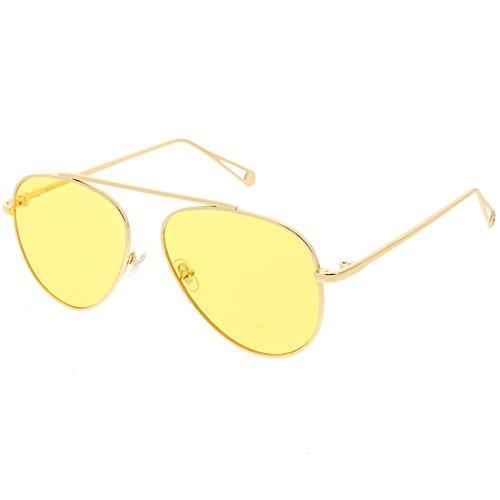 sunglassLA - Premium Modern Metal Aviator Sunglasses Single Brow Bar Color Tinted Flat Lens 57mm (Gold / - Sunglasses Single Frame