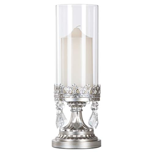 Footed Hurricane - Amalfi Décor Antique Silver Metal Candle Holder with Glass Hurricane Vase, Crystal Draped Pillar Stand Accent Display