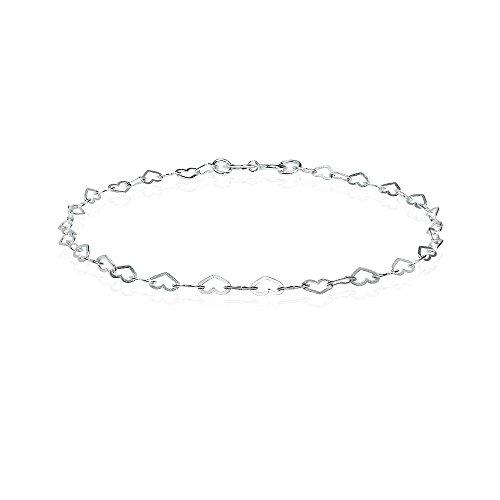 Sterling Silver Heart Loop Link Chain Tennis Bracelet for Women Teens (Small Heart Link)