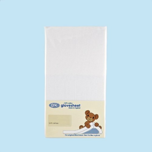 DK Cot Bed Fitted Sheet (White) by DK Glovesheets