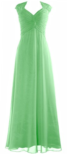 Cap Party Minze Women Prom Gown Sleeve Wedding MACloth Dress Lace Long Chiffon Formal 15wUnx6zq