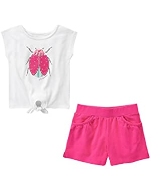 Cute As A Bug Tee & Shirred Pocket Shorts S(5-6)