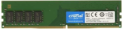 Crucial 4GB DDR4 SDRAM Memory Module - 4 GB - DDR4 SDRAM - 2666 MHz DDR4-2666/PC4-21300 - 1.20 V - Non-ECC - Unbuffered - 288-pin - DIMM ()