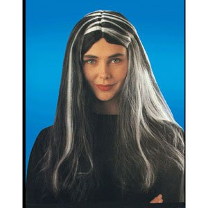 Black Witch Wig w/ White Streaks -