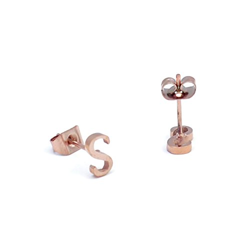 Stainless Steel Initial Letter Earring Studs S, 14K Rose Gold (Smith 14k Ring)