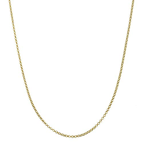 - 18K Gold Flashed Sterling Silver 1.7mm Italian Rolo Link Cable Chain Necklace - 30