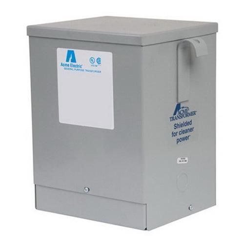 Acme Electric T3533411S Dry Type Distribution Transformer, 3 Phase, 480V Delta Primary Volts, 240V Delta/120 Tap Secondary Volts, 60 Hz, 15 kVA 3 Phase Dry Type Transformer