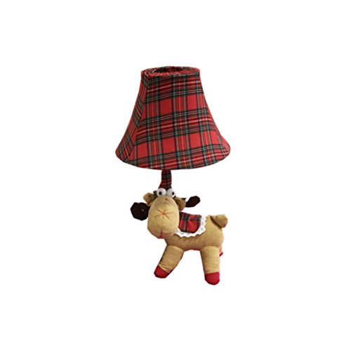 Briskaari Store- LED Red Charistmas Deer Cloth Table Desk Lamp for Kid's Bedroom Bedside Play Room Christmas Decorative Light Gift for Children by Briskaari Store