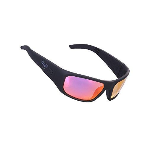 OHO Open Ear Bluetooth Sunglasses Headset with UV Impact Resistant Lens (black+rose - Sunglasses Bt