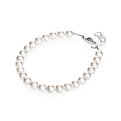 Real Pearl Bracelet - Delicate Sterling Silver Newborn Baby Girl Pearl Bracelet (0-9 Months) - with White Swarovski Simulated Pearls - Perfect for Baby Shower Gifts, New Baby Gifts