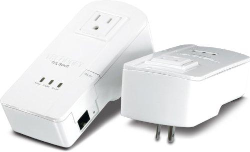 TRENDnet 200 Mbps Powerline Ethernet AV Adapter Kit with Bonus Outlet TPL-304E2K (White) by TRENDnet