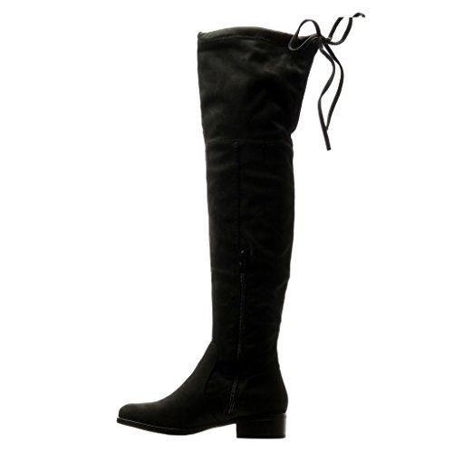 Angkorly - Zapatillas Moda Botas Altas Botas cavalier flexible mujer nodo Talón Tacón ancho 3.5 CM Negro