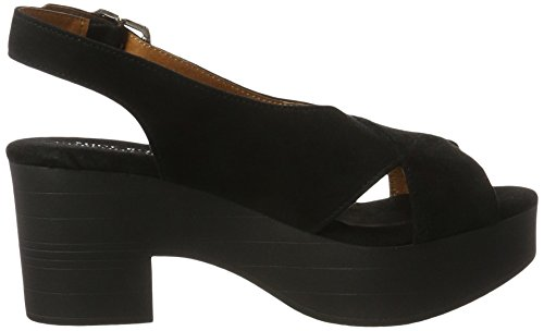 Noir Suede Biz Black Femme Shoe Sandales Heel Compensées AXBAwYq