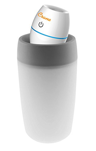 Crane USA Humidifiers - White Travel Personal Ultrasonic Cool Mist Humidifier - 8 Oz. Adjustable Mist Output Automatic Shut-off Whisper-Quiet Operation for Home Bedroom Office Kids Dorm and Hotel