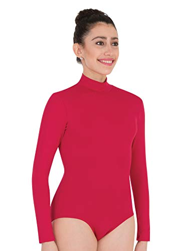 Body Wrappers BWP201 Womens Zip Back Mock Turtleneck Leotard - Medium, White