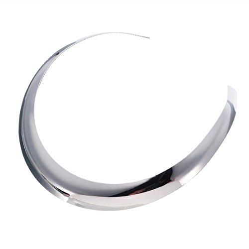 Jerollin Gold/Silver Chocker Collar Necklaces for Women, Stainless Steel Silver Statement Necklace Open Choker Bib ()