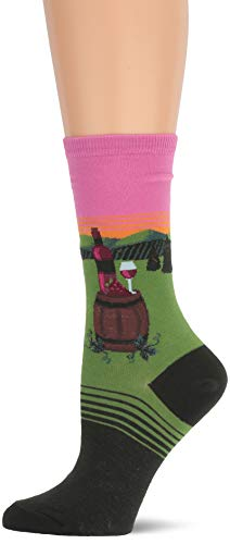 Hot Sox Women's Travel Series Novelty Crew, Napa valley (Pink), Shoe Size: 4-10 (Sock Size: 9-11)