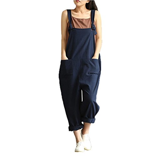 (SPE969 Womens Loose Jumpsuit Strap Belt Bib Pants Trousers Casual Overall Pants (XL) Blue)