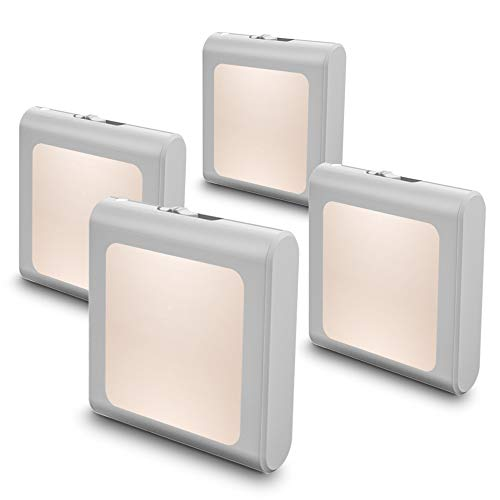 MAZ-TEK Plug in Dimmable Led Night Light with Auto Dusk to Dawn Sensor, Soft Warm White Nightlights for Hallway,Bedroom, Kids Room, Kitchen, Stairway, 4 Pack