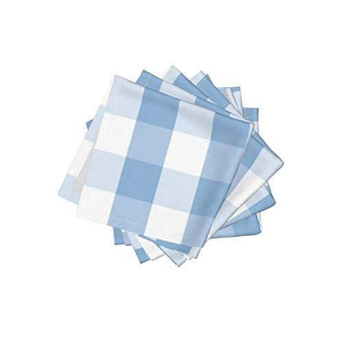 Roostery Light Blue Organic Cotton Sateen Cloth Cocktail Napkins - Blue Check Gingham Check Pale Blue Tartan Check Tartan Checked by Paper and Frill (Set of 4) 10 x 10in