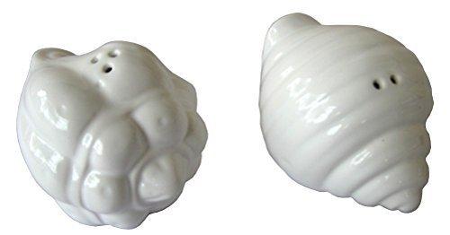 Salt-Pepper-Shaker-White-Ceramic-Shells-Seashells