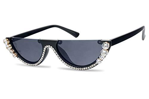 SunglassUP Half Moon Diamond Studded Rhinestone Flat Top Sun Glasses Semi-Rimless Jeweled Clout Cat Eye Shades (Glossy Black Frame | Black)