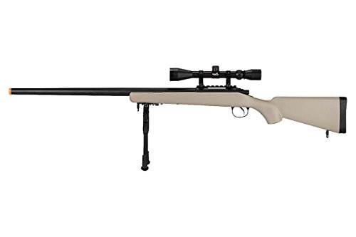 Well VSR-10 Bolt Action Airsoft Rifle w / Scope Bipod (Tan / Long)