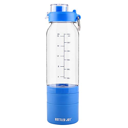 BOTTLED JOY Flip-Top Water Bottle with 3-Layer Twist and Lock Storage, Tritan Sports Bottle, Drinking Bottle for Gym Yoga with Shaker Ball as Gift 700ml 24oz 24Ounce