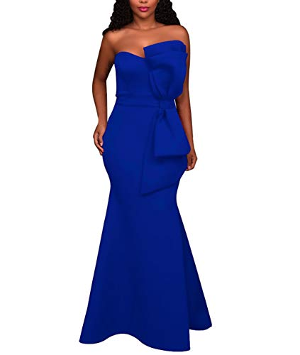 - SEBOWEL Women's Elegant Off Shoulder Mermaid Formal Party Long Dress Evening Gowns Blue L