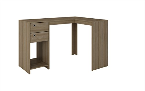 Manhattan Comfort Palermo Classic L-Shaped Office Work Desk With 2 Drawers and 1 Cubby, Oak