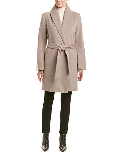 T Tahari Women's Wool Long Coat with Tie Belt, Brown Sugar, Large