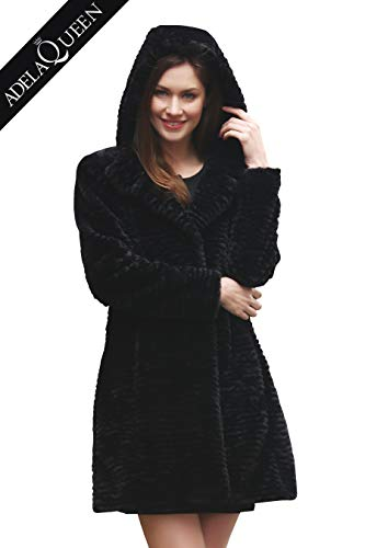(Adelaqueen Women's Winter Persian Lamb Fabulous Faux Fur Coat Stylish Outerwear Black With Hood Size XS)