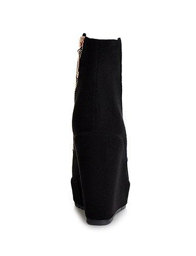 XZZ  Damenschuhe - Stiefel - - - Kleid   Lässig - Vlies - Keilabsatz - Wedges   Plateau   Stifelette   Rundeschuh   Modische Stiefel -Schwarz   2696c7