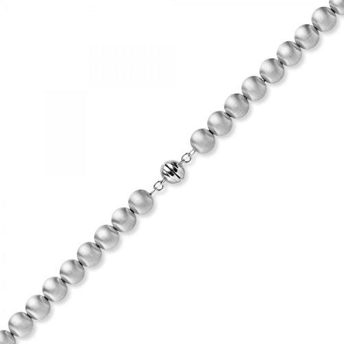 10mm Boule chaîne collier en or 585or blanc mat 50cm