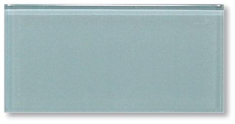 Sample Color Swatch of Jasper Blue/Gray 3x6 Glass Subway Tiles for Kitchen Backsplash/Tub Surround from Rocky Point Tile